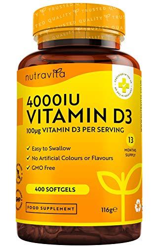 Vitamina D 4000 UI - Fuerza máxima - 400 cápsulas blandas fáciles de tragar - Suministro para más de un año - VIT D3 de alta resistencia - Fabricado en el Reino Unido por Nutravita