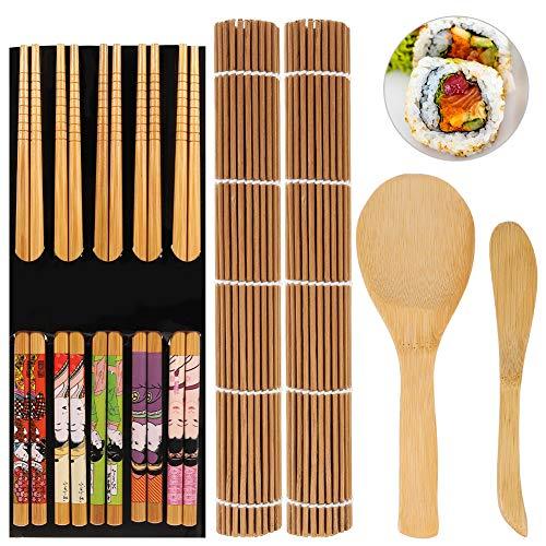 upain Kit Sushi 9 Piezas, Herramienta para Hacer Sushi de Bambú-2 Esterilla de Enrollar Sushi, 5 pares de Palillos, 1 Pala de Arroz, 1 Separador de Arroz