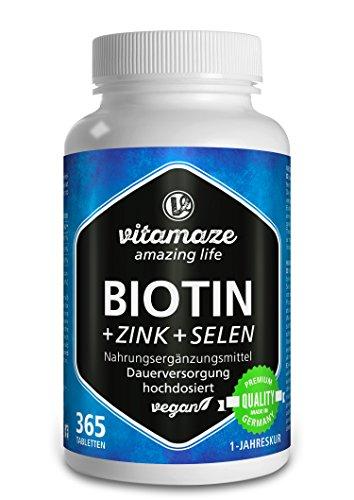 Vitamaze Biotina 10000 mcg de Dosis Alta + Selenio + Zinc para Crecimiento del Cabello, Cabello y Uñas - 365 Tabletas Veganas para 1 Año, Calidad Alemana, sin Aditivos Innecesarios