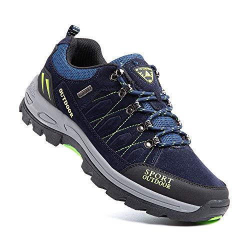Zapatillas Trekking Hombre Antideslizantes Zapatos de Senderismo Transpirable Botas Montaña Bajas al Aire Libre 1 Azul Talla 43 EU