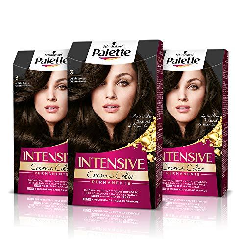 Palette Intense Cream Coloration Intensive Coloración del Cabello, 3 Castaño Oscuro - Pack de 3