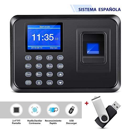 Thustand 2.4' TFT USB Máquina de Asistencia Biométrica de Huella Dactilar con 8G Memoria Flash, Registrador de Cheques del Empleado, LCD Pantalla, Sistema Española