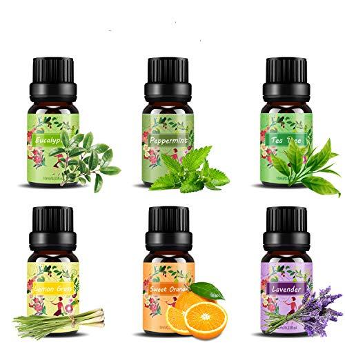 Set de aceites esenciales,100% Natural Puro Aromaterapia Aceite Aromático,6 x 10 ml (Lavanda, Hierba de Limón, Menta, Eucalipto, �rbol de té, Naranja dulce) para Humidificador y Difusor Aroma