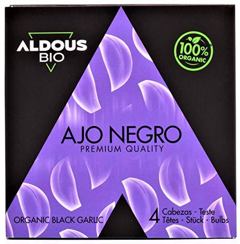 Auténtico Ajo Negro Ecológico Español | Producto Gourmet | Ajo en Cabezas de Calidad Premium | Máxima frescura y Sabor | Libre de Plástico | Certificación Ecológica Oficial | 100g Aprox. (4 Cabezas)
