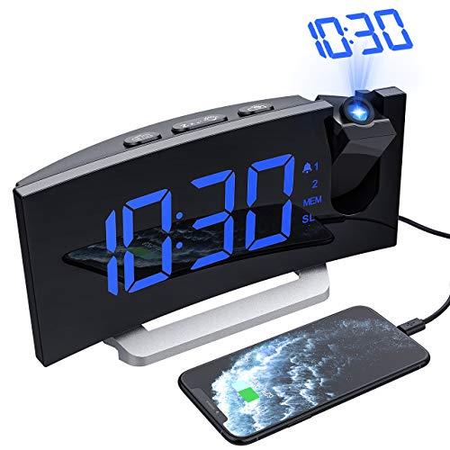 Mpow Despertadores Digitales Radio Despertador Proyector Alarma Dual con 4 Sonidos 3 Volúmenes, 6 niveles de Brillo de Display y 4 de Proyección, 15 Radio FM, Puerto USB (Incluido el Adaptador)