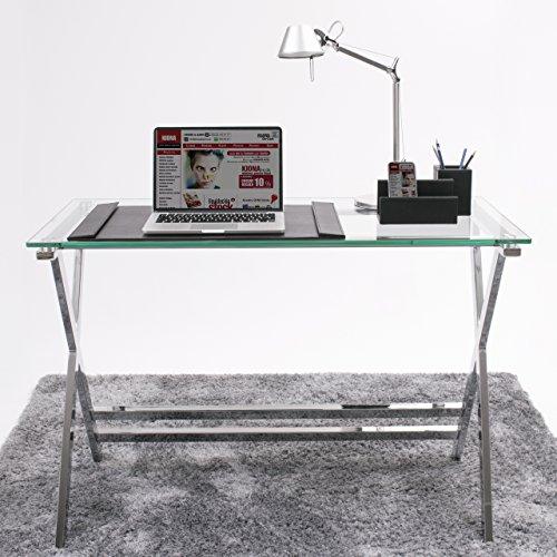 Homely Mesa Escritorio Equis Tapa de Cristal y Patas de Metal, de 110x55x76 cm.