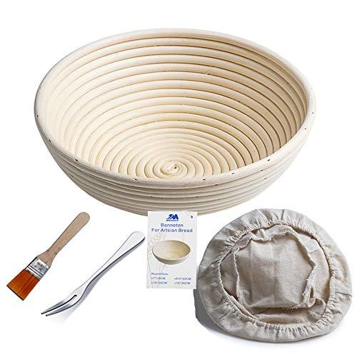 Bakery Essentials cesta de pruebas 10'redondo Banneton Brotform cuenco de ratán para masa de pan y cepillo [libre] Borradores de aumento(hasta 1000g) + free liner + libre Pan horquilla