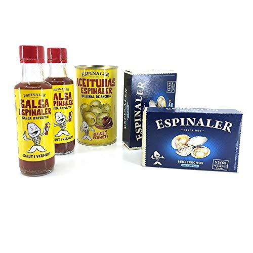 Pack Espinaler - 2 Latas de Conservas Berberechos al Natural, Aceitunas rellenas de Anchoa y 2 Salsas Aperitivo Espinaler