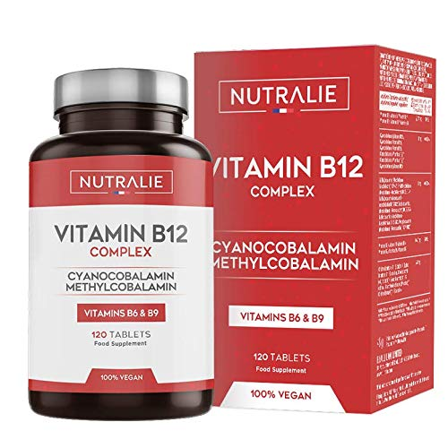 Vitamina B12 Vegana 2000mcg Cianocobalamina y Metilcobalamina | Alta Potencia Sin Aditivos | Reducción Cansancio y Formación Glóbulos Rojos con B9 y B6 | 120 Comprimidos Veganos Nutralie