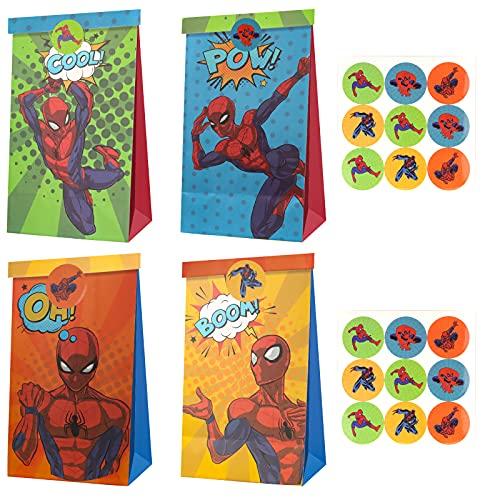 Yisscen Bolsas para Chuches de Spiderman,12 pcs Bolsas de Regalo+18 Pegatinas de Spiderman, Bolsas Cumpleaños Infantil Bolsas de Papel Kraft para Niños Fiestas,Regalos de Comunion,Navidad