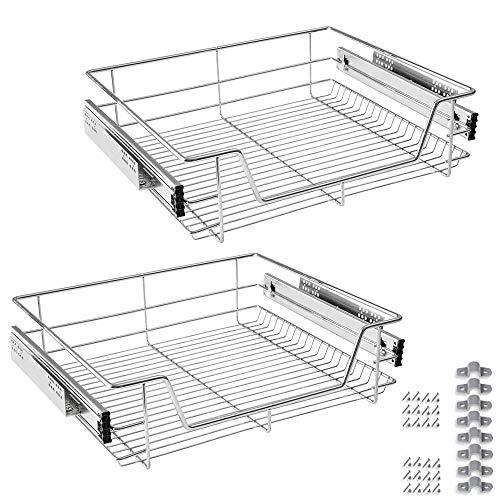 Froadp 2 Piezas Cocina Estante Cajón Telescópico Dormitorio Extensible Cajón Gabinete Cajón Estantes y Soportes (60cm)