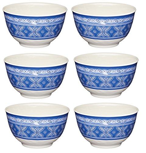 KitchenCraft 'We Love Summer' - Juego de 6 cuencos de melamina con diseño de azulejos irrompibles, 15 cm, color azul