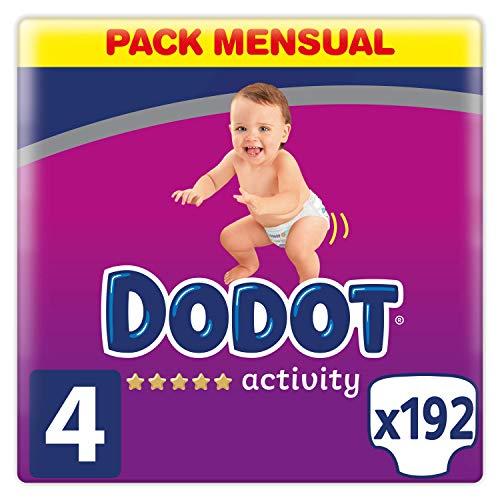 Dodot Activity pañales talla 4, 192 pañales, 9-14 kg, pañales con ajuste más resistente