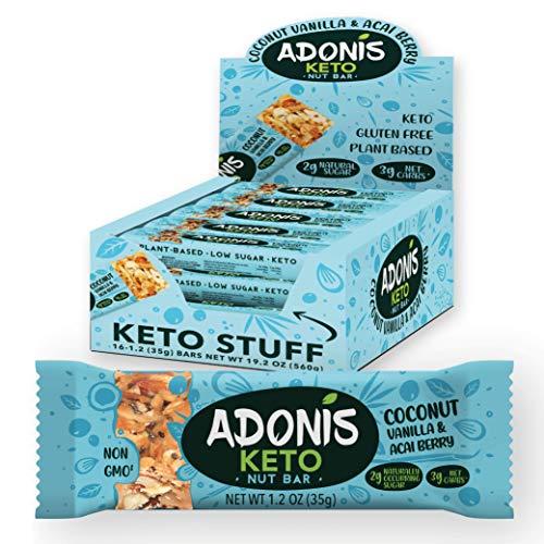 Adonis Low Sugar Nut Bar - Barritas de Coco Crujiente Sabor a Vainillia   100% Natural, Baja en Carbohidratos, Sin Gluten, Vegano, Paleo, Keto (16)
