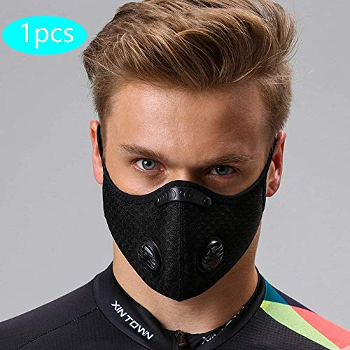 Protección Bucal Lavable y Reutilizable Alergia Antipolen Negra con Válvula, Protección Bucal con 1 Protección Bucal + 5 Reemplazar para Correr, Bicicleta de Montaña, Actividades al Aire Libre