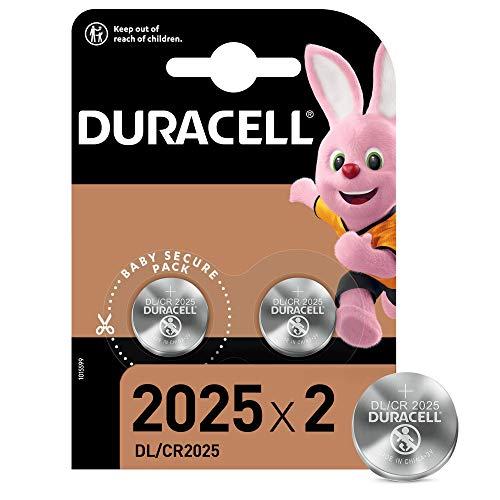 Duracell Pilas de botón de litio 2025 de 3 V, paquete de 2, con Tecnología Baby Secure, para uso en llaves con sensor magnético, básculas, elementos vestibles, dispositivos médicos DL2025/CR2025