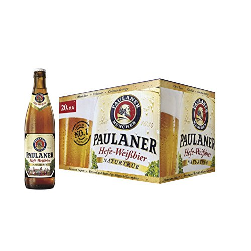 Paulaner Hefe Weissbier Cerveza - Caja de 20 Botellas x 500 ml - Total: 10 L