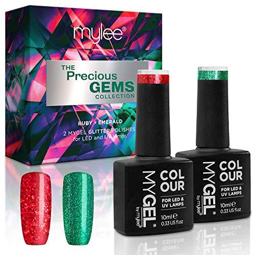 Mylee Colección Gemas Preciosas, Set Exclusivo navideño de colores MYGEL, Kit de esmaltes de uñas en gel con LED UV, rojo rubí y verde esmeralda brillante
