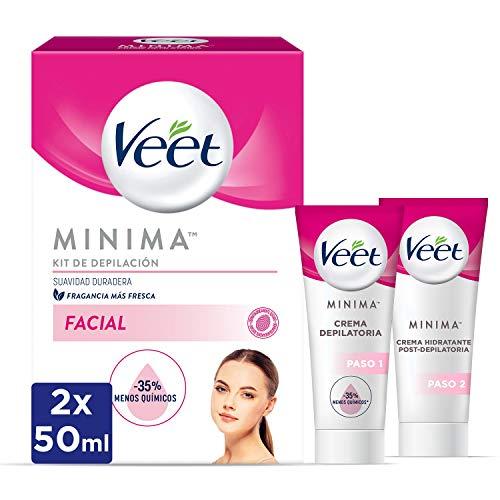 Veet Kit Crema Depilatoria Facial + Crema hidratante post-depilatoria para un acabado óptimo - 2 x 50 ml