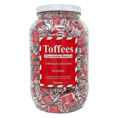 SMARTY BOX Bote Grande Caramelos Toffee con Chocolate Blanco y Leche Condensada, Caramelos Blandos Masticables Sin Gluten, Regalo Chuches, Fabricados en España