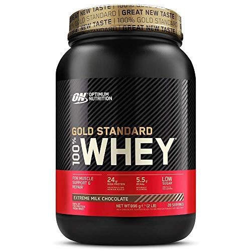 Optimum Nutrition ON Gold Standard 100% Whey Proteína en Polvo Suplementos Deportivos, Glutamina y Aminoacidos, BCAA, Extremo Chocolate, Leche, 28 Porciones, 896 g