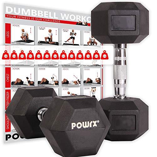 POWRX - Mancuernas hexagonales 6 kg Set (2 x 3 kg) - Revestimiento de Goma + PDF Workout (Negro)