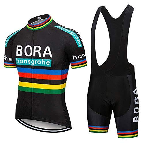 SUHINFE Traje Ciclismo Hombre para Verano, Ciclismo Maillot y Culotte Ciclismo Culote Bicicleta con 5D Gel Pad para Deportes al Aire Libre Ciclo Bicicleta, BOR-Black, L