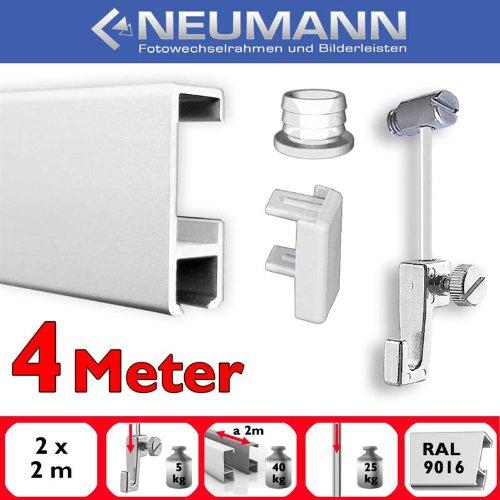 Neumann Bilderrahmen Juego de rieles para galeria, 4 m, Deslizadores de Tornillo, Blanco