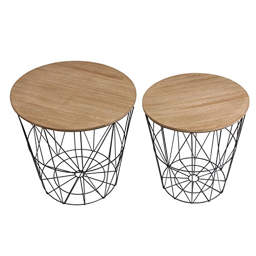The Home Deco Factory hd3831mesas filaires X2Madera y Metal MDF + Metal Negro 40x 40x 40.5cm