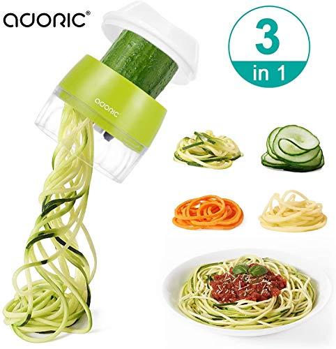 ADORIC Cortador de Verdura 3 en 1 Rallador de Verduras Calabacin Pasta Espiralizador Vegetal Veggetti Slicer Pepino, Espaguetis de Calabacin, Cortador Espiral Manual (Verde)