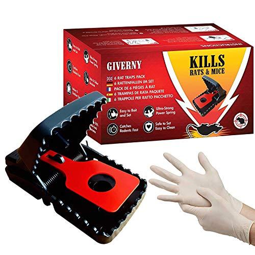 Giverny Trampa para Ratas & Ratónes (Paquete de 6) Atrapa a los Roedores, Fácil y Seguro, Rápido, Mata al Instante sin Sufrimiento-DE Regalo Guantes de látex-GARANT�A Insecticida eficaz, Rojo