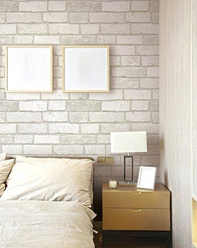 (Blanco, Paquete de 1) Papel tapiz de mural autoadhesivo clásico con patrón de ladrillo 50cm X 3M (19,6' X 118'), 0,15mm para sala de estar, habitación, fregadero