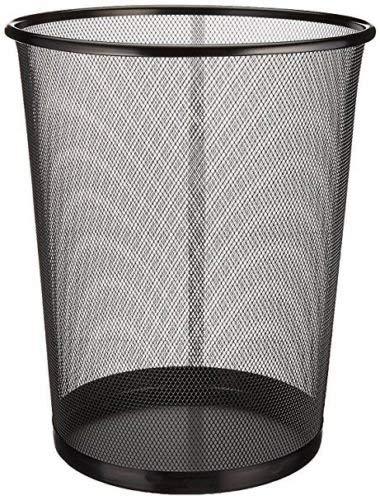 EUROXANTY Papelera de oficina | 27 x 24 cm | Papelera circular de rejilla metálica | Papelera negra | 10 L