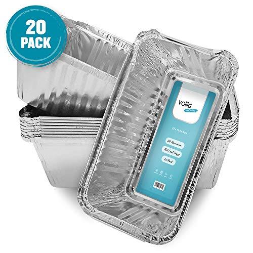 Bandejas de Pan Desechables de Aluminio contenedores de 2 Libras, para Hornear Pan, cocinar, congelar y almacenar, 218 mm x 115 mm x 60 mm (20)