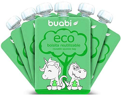 Buabi bolsitas reutilizables comida bebe - Pack de 6 bolsas de papilla rellenables (Squeeze Food Pouch) 150 ml