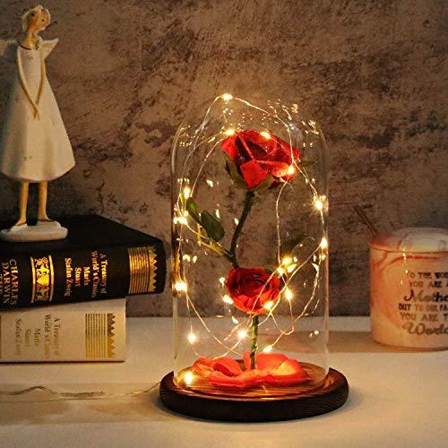 TEAMO Rosa Bella y Bestia,Flor Bella y Bestia,Elegante Cúpula de Cristal con Base Pino Luces LED,Beauty and Regalos Magicos Decoración para Día de San Valentín Aniversario Bodas