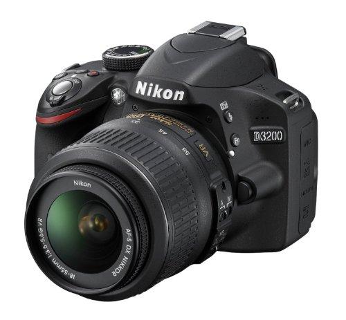 Nikon D3200 - Cámara réflex Digital de 24.2 MP (Pantalla 3', estabilizador óptico), Negro - Kit con Objetivo AF-S DX 18-55mm f/3.5 VR