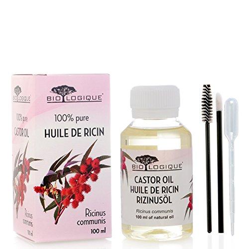 Aceite de ricino - Aceite pureza 100% prensado en frío - Estimula el crecimiento del cabello, las pestañas y las cejas, refuerza las uñas - con kit de aplicador de tratamiento - 100 ml