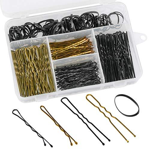 FOCCTS 300 piezas de horquillas y bandas para el pelo, incluye 200 horquillas en forma de U y 100 bandas para el pelo con caja de almacenamiento para niñas y mujeres, color dorado y negro
