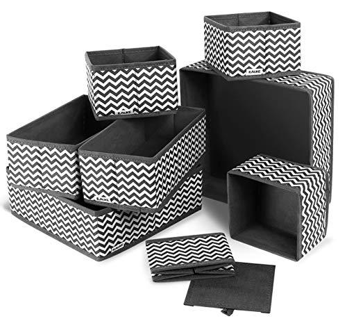 ilauke 8 Cajas Organizador de cajones Tela organizadores Almacenamiento Plegable para Sujetadores Bragas Calcetines Gris