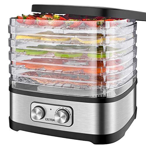 Deshidratador de Alimentos 240W OSTBA, Desecadora de Fruta con 5 Bandejas Ajustables, Temperatura Regulable 35 °C-70 °C y Temporizador 0-72h,para Verduras Carne Flores,sin BPA