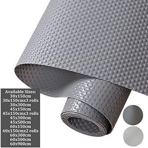 Hersvin 30x150cm Alfombra Antideslizante de EVA para Cajon, No Adhesivo, Impermeable Antibacteriano Proteger Estantes, Cocina Gabinete, Refrigerador, Mesas (Gris/Puntos,30X150cm)