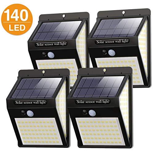 Litogo Luz Solar Exterior 140 LED【4 Pack / 3 Modos】con Sensor de Movimiento, Luces LED Solares Exteriores 270º lluminación Focos Solares Exterior Impermeable Aplique Lampara Solar para Exterior Jardin