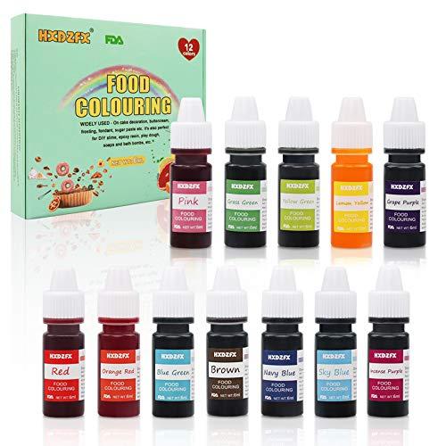 Colorante alimentario 12*6ml, Colorante Alimentario Alta Concentración Liquid Set para Colorear los Bebidas Pasteles Galletas Macaron Fondant