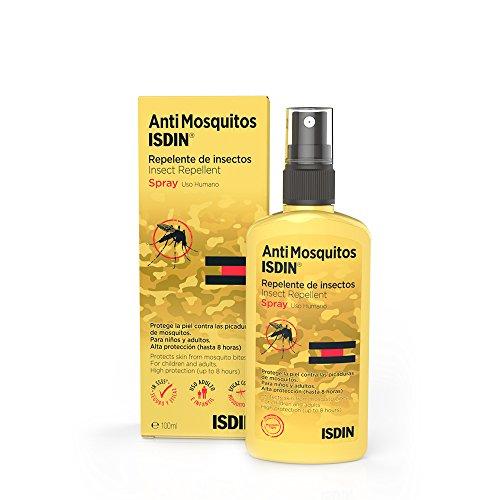ISDIN Spray Anti Mosquitos - Repelente de Mosquitos para la Prevención de Picaduras, Eficaz Mosquito Tigre, Amarillo, 1 x 100 ml