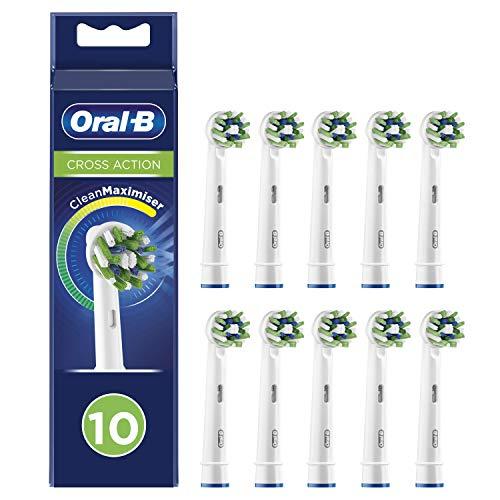 Oral-B CrossAction Cabezales de recambio con tecnología CleanMaximiser, tamaño de buzón, Pack de10