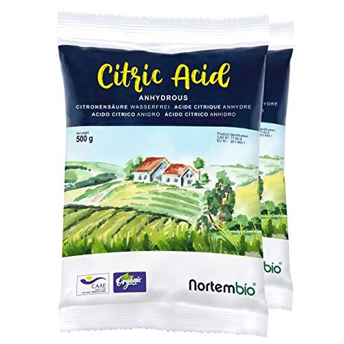 NortemBio Ácido Cítrico 1 kg (2x500g). Polvo Anhidro, 100% Puro. para Producción Ecológica. E-Book Incluido.