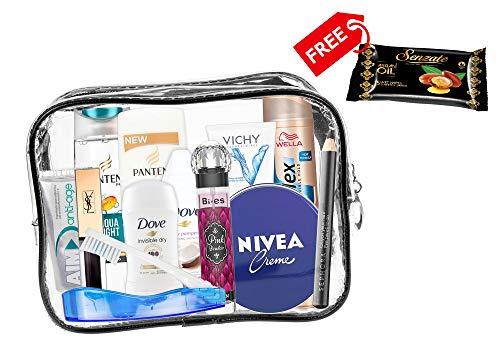 Set de viaje de 13 piezas para mujer productos para el cuidado personal,esenciales de viaje. Cabina aprobada.