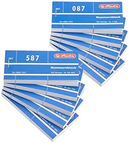 Herlitz 1-1000/892703 - Bloque de Papeles Numerados 105x50 mm, 1000 hojas, Colores Aleatorios, Paquete de 10