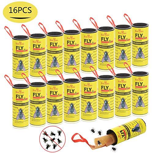 BaiYou Atrapa Moscas Adhesivo Trampa Moscas Fruta 16 Rollos Atrapa Moscas Tiras Atrapamoscas Atrapa Mosquitos para Invernadero Jardin Exterior Interior No Tóxico